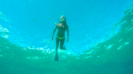 Underwater Angle Looking Up of Woman Snorkeling In Blue Ocean Water