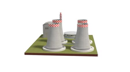 nuclear power : Power plant 3d illustration rotating view Stock Footage