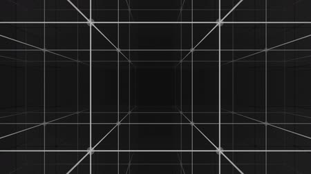 Camera moving into an infinite space loop 3d grid