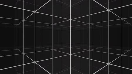 dimension : Camera rotating into a 3d grid infinite space loop Stock Footage