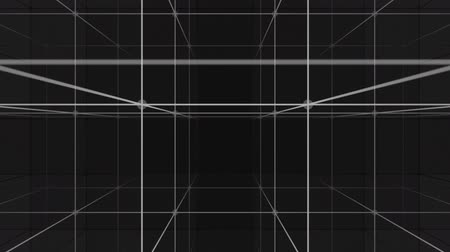 dimension : Camera vertical movement into a 3d grid infinite space loop