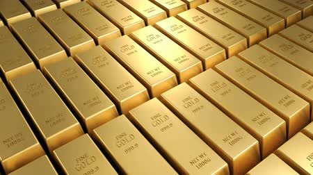 mines : Gold bars moving 3d background loop Stock Footage