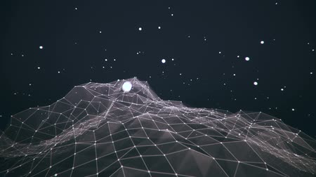 сетка : Camera exploring a minimal rotating wireframe world with stars v2