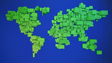 harita : World map formed by 3d scaling cubes background loop Stok Video
