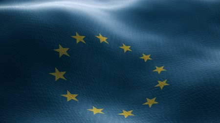 político : Closeup of a waving european flag looping Stock Footage