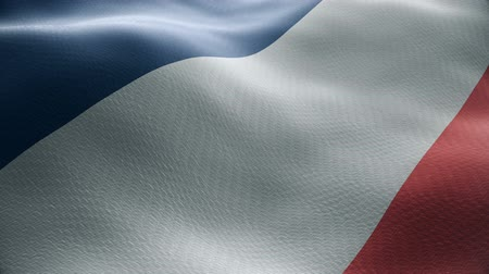 Closeup of a waving french flag looping