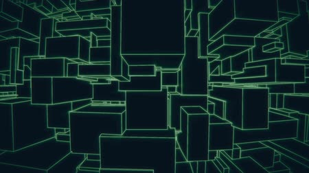 сканирование : Vertically moving camera on a vintage 3d green vector background city loop