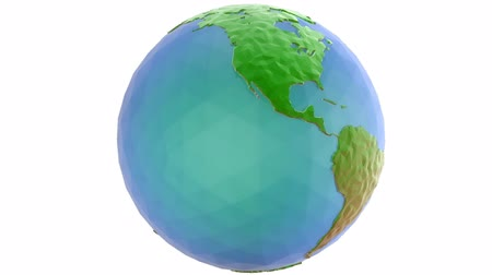 низкий : Rotating 3d low poly globe loop with alpha
