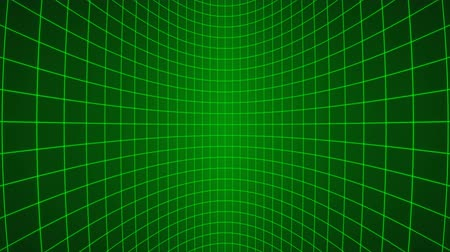 3d vertically moving green neon curved grid loop