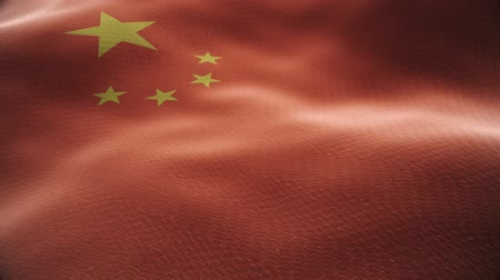 Closeup of a waving chinese flag looping Dostupné videozáznamy