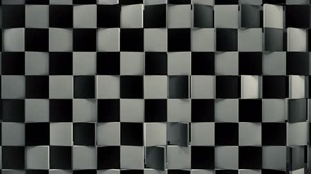 Rotating black and white 3d floor with dynamic lights loop