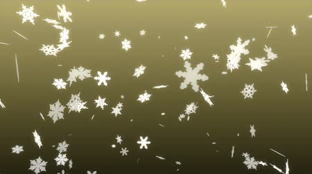 sniezynka : 3d white snowflakes on a yellow background loop Wideo