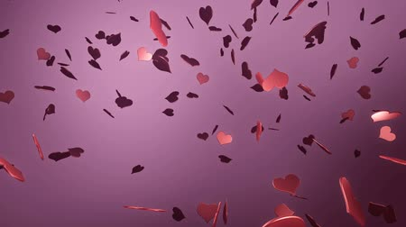 3d Flying shiny pink hearts animated background loop