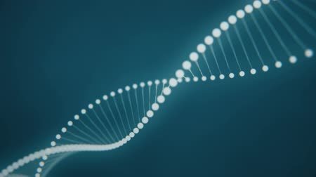 Rotating DNA formed by white luminous molecules on a blue background