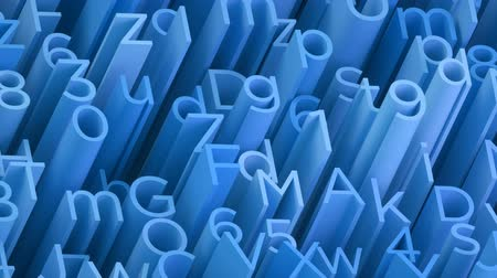 betűtípussal : Random 3d blue letters and numbers animated background