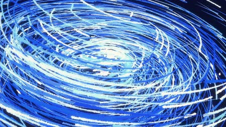 Rotating swirl formed by white and blue lines