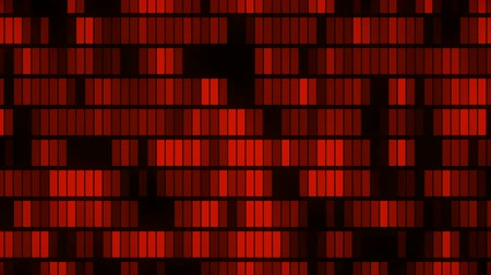 Horizontally flowing red electronic data blocks background loop