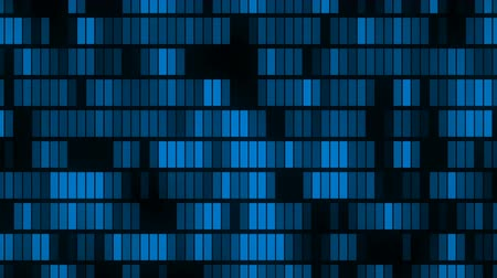 Horizontally flowing blue electronic data blocks background loop