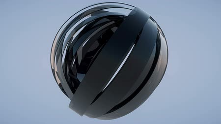 Rotating sphere made of reflective dark glass blades looping Stock mozgókép