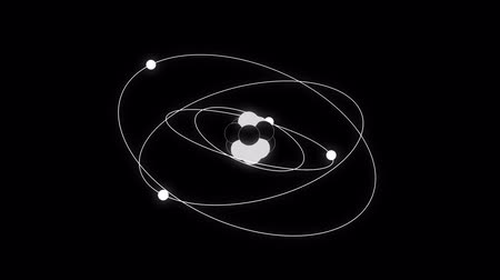 electron : Atom black and white schematic animated representation background loop Stock Footage