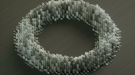 Circular waves formed by white binary digits on a gray background isometric view Stock mozgókép