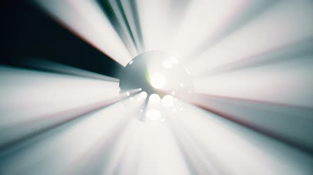 Dynamic multi-colored light rays coming from a rotating black sphere motion graphics 3d render animation loop