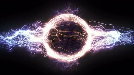 articles : Abstract 4K Motion Graphic Looping Background, Colored Energy Circle Plasma Ball Formed by Power Electrical Rays and Glowing Particles