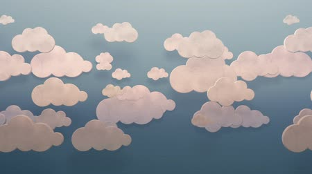 3d white clouds moving horizontally on a blue sky wall flat style background loop