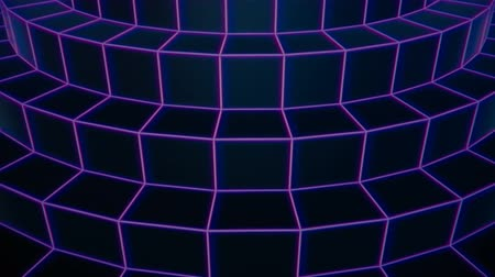 Retro future rotating purple wireframe circular stairs vintage videotape footage loopable background