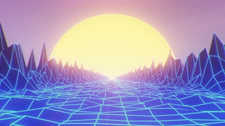 Camera navigating into a low poly wireframe mountain landscape at sunset, retrowave vintage looping background