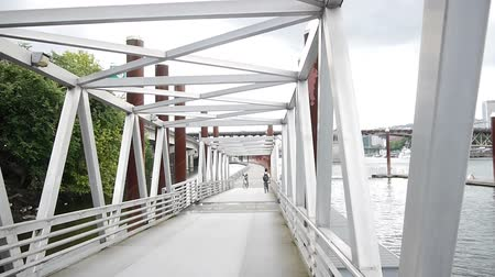danimarka : Bridge for Bicycles and  Pedestrian Stok Video