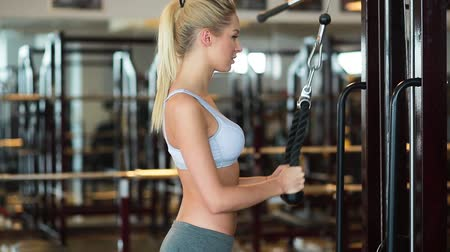 vékony : beautiful young woman is doing exercises at the gym