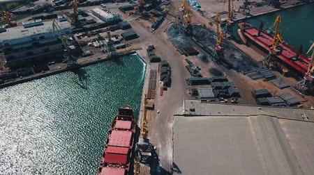 container terminal : aerial view of terminal in port