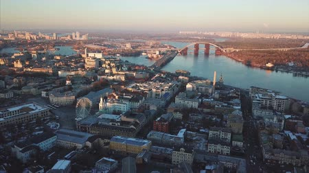 magasság : Aerial drone footage. Panorama of podil in kiev Stock mozgókép