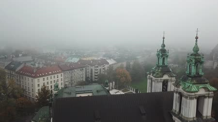 Krakow, veil of mist covered the town Stock Footage