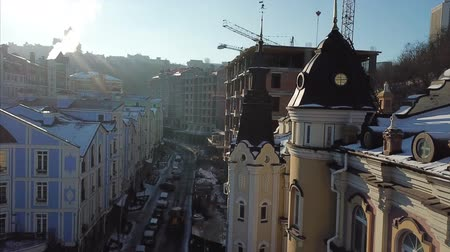 Aerial drone footage. Panorama of podil in kiev Stock Footage