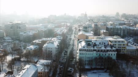 Aerial drone footage. Panorama of podil in kiev at winter Stock Footage