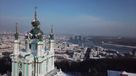 kiev : Aerial flyover of Saint Andrews Church.