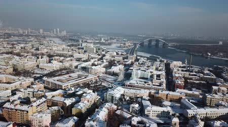над : Aerial drone footage. Panorama of podil in kiev at winter Стоковые видеозаписи