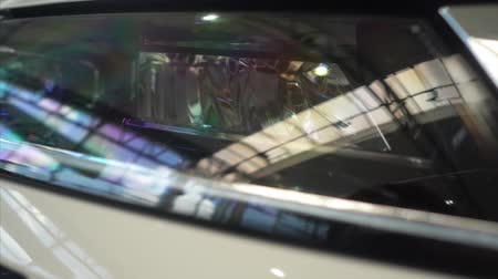 Detail of a beauty car with headlight Stock Footage