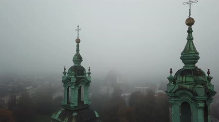 grunwaldzki : Krakow, veil of mist covered the town Stock Footage