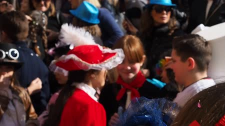 úterý : Naples, Italy - March 1, 2019. Carnival parade with dressed up children. Unfocused