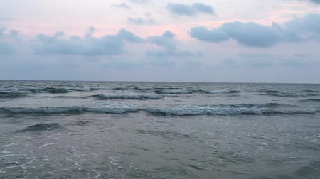 Water and waves sea landscape. Dawning daybreak, daylight sunset.