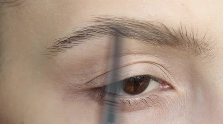 tons : Young beautiful woman applying eyebrow pencil close up. Beauty, make up concept