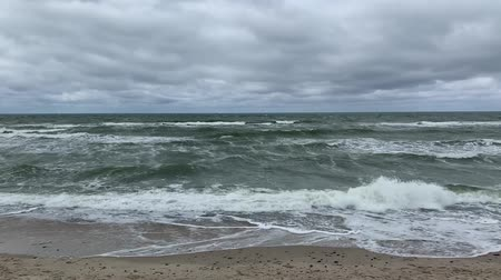 északi : Moving surface and waves of cold baltic sea in stormy weather