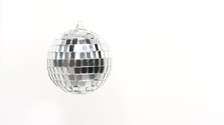 Disco Mirror Ball Spinning on white background