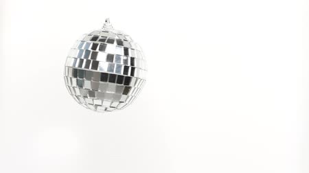 discotheque : Disco Mirror Ball Spinning on white background
