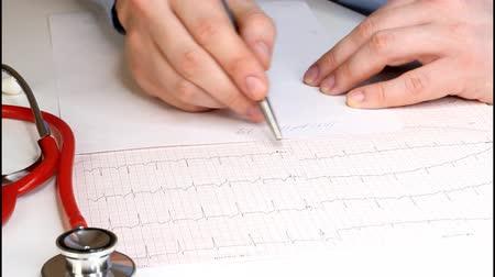 kardiyoloji : Cardiologist looks at the cardiogram and prescribes the prescription to the pharmacy. Fennedoscope, stethoscope and cardiogram. Healthcare and early diagnosis concept.