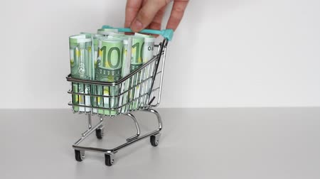 Womans hand moves trolley from supermarket with Stack of Euro banknotes. Money in shopping trolley. Online shopping or saving money concept