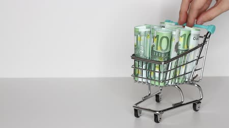 miniatűr : Womans hand moves trolley from supermarket with Stack of Euro banknotes. Money in shopping trolley. Online shopping or saving money concept